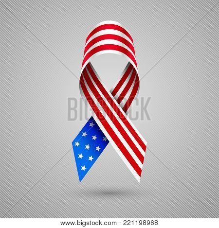American flag curved ribbon. USA patriotic symbol of Independence and memorial Day. 4 July. eps10
