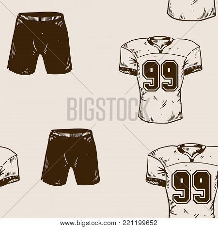 American football sport equipment T shirt shorts engraving seamless pattern vector illustration. Brown aged background. Scratch board style imitation. Hand drawn image.