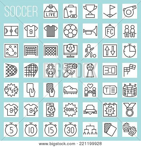 soccer line icons, rules and elements such as goal, match of the day, red card, referee, scoreboard, tournament, first aid, football field, arena, fan club, strategy, whistle, foal, stud shoes, timer