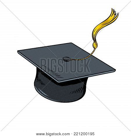 Square academic cap fly in sky pop art retro vector illustration. Comic book style imitation.