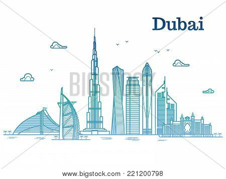 Colorful detailed dubai line vector cityscape with skyscrapers. Dubai urban building, business city illustration