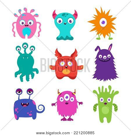 Cute cartoon baby monsters vector collection. Color monster character mascot illustration