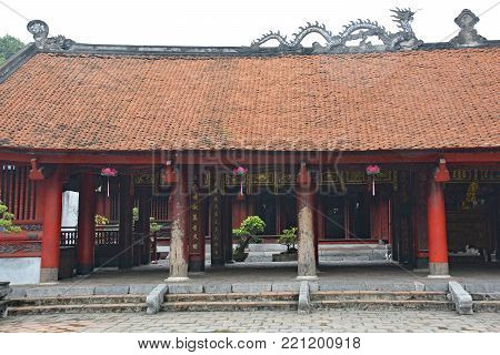 Hanoi, Vietnam - December 14th 2017. A gateway within the Temple of Literature in Hanoi, Vietnam