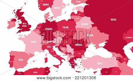 Political map of Europe and Caucasian region in shades of maroon on white background. Simple flat vector illustration.