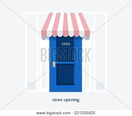 Grand opening banner. Store opening, store door.Template banner, flyer, design element, decoration for opening event