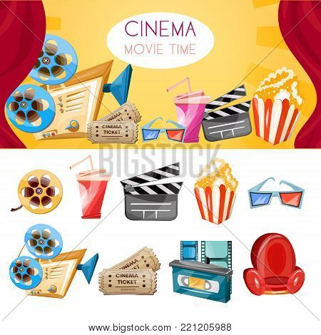 Cinema collection. Cinema movie elements cartoon cinema hand drawn icon collection cinema and movie set vector
