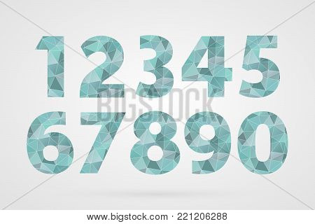 1 2 3 4 5 6 7 8 9 0 polygonal geometric numbers. Decorative blue geometric icons set. Abstract triangle symbols for decoration, concept design, illustration