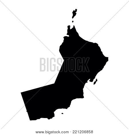 black silhouette country borders map of Oman on white background of vector illustration