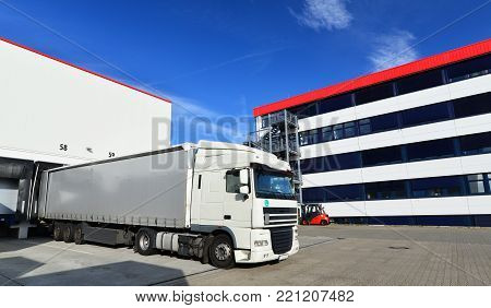 Loading Of Lorries At The Warehouse Of A Freight Forwarding Company