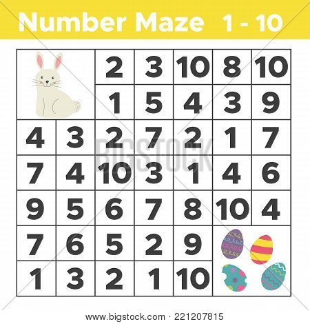 Number maze, mathematical puzzle game for children. Help bunny find Easter eggs. Counting from one to ten. Worksheet for preschool and school kids. Vector illustration.
