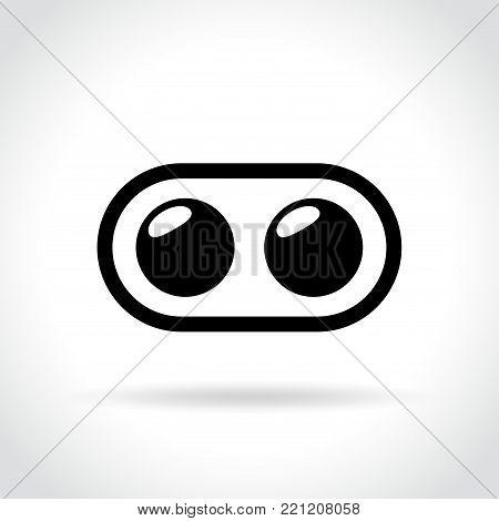 Illustration of dual camera icon on white background