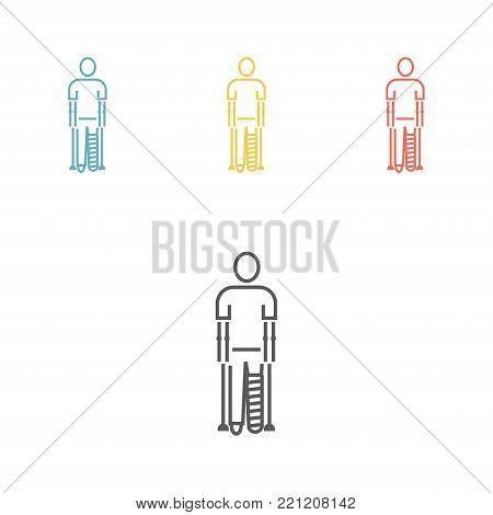 Broken leg, man with bandages. Vector illustration for websites.