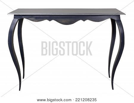 Vintage Furniture - Retro wooden table with silver painted top and blue legs isolated on white background including clipping path