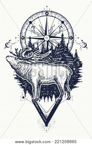 Reindeer And Compass Tattoo. Deer And Compass Ethnic Tribal Tattoo. Adventure, Travel, Outdoors, Sym