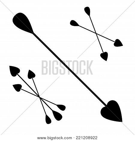 Vector icon cupid arrows set. bunch of Cupid arrows.heart, love, festive attribute of St. Valentine's day, set of arrows of Cupid, vector icon illustration isolated layers on a white background
