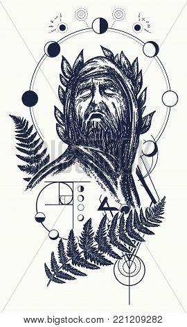 Scientist Tattoo And T-shirt Design. Great Prophet, Genius, Creator Of Universe. Symbol Of Science,