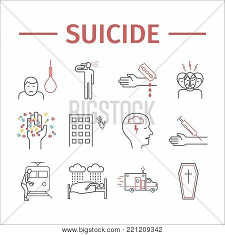 Suicide line icons infographic. Vector signs for web graphics