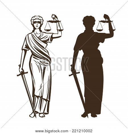 Goddess of justice. Themis with blindfold, scales and sword in hands. Vector illustration isolated on white background