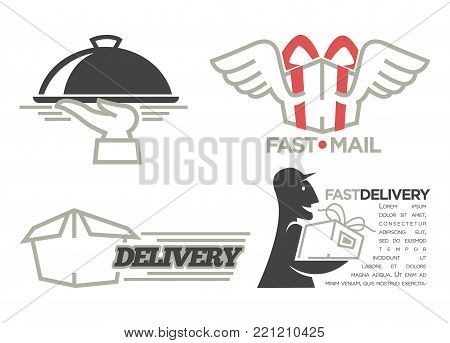 Delivery logo templates set for post mail, food or onlne shop express delivery service. Vector isolated icons set of delivery man with gift box, shopping bag, car truck and fast wings