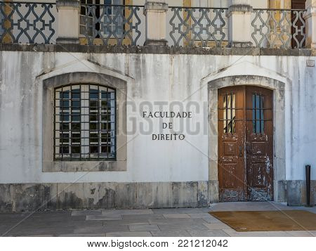 Obidos, Portugal - july 2016: Law School: Main Entrance in University Square in Coimbra, Portugal.