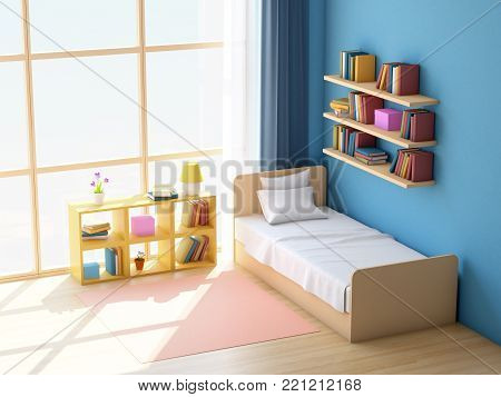 teen room with big window in japanese style. 3d illustration