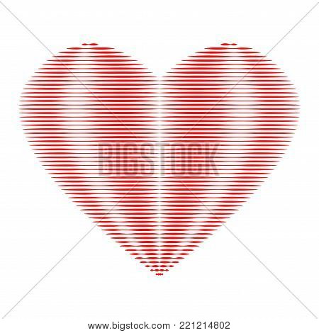 Heart of red lines sign. Beautiful icon isolated on white background. Image of romance. Logo for romantic holiday, celebration. Mark of decoration for love. Lovely symbol. Stock vector illustration