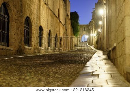 Night view to Knights Street in Rhodes, Greece