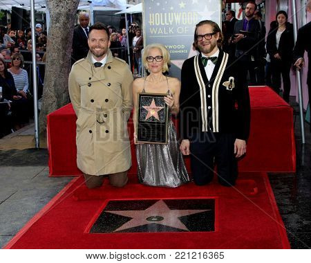 LOS ANGELES - JAN 8:  Joel McHale, Gillian Anderson, Bryan Fuller at the Gillian Anderson Star Ceremony on the Hollywood Walk of Fame on January 8, 2018 in Los Angeles, CA