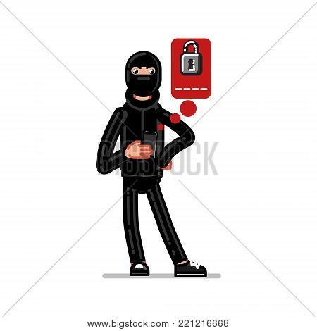 Burglar try to huck into electronic wallet throw mobile phone