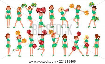 Cheerleader Girls Vector. In Action. Sport Fan Uniform. Football Support Female. Cartoon Character Illustration