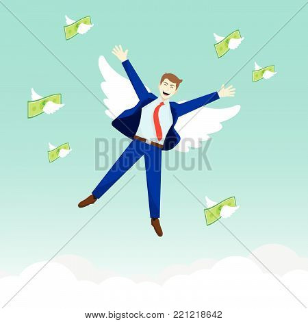 Vector Illustration Business Concept As A Happy Businessman And Money Are Flying In The Sky. It Means Freedom To Enjoy Profit, Revenue, Income Without Any Anxiety.