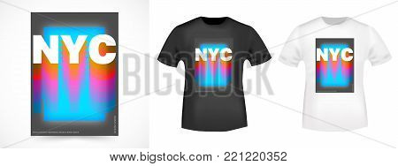 T-shirt print design. New York city vintage stamp and t shirt mockup. Printing and badge applique label t-shirts, jeans, casual wear. Vector illustration.