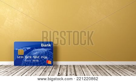 Single Credit or Debit Card on Wooden Floor Against Yellow Orange Wall with Copyspace 3D Illustration
