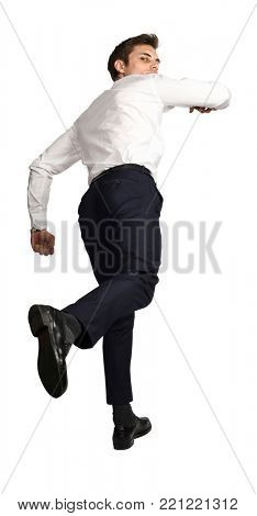 running  caucasian businessman back view isolated on white background