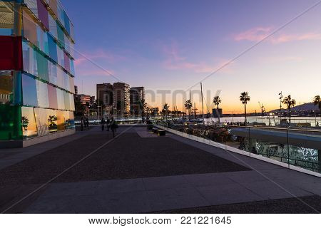 Malaga, Spain - January 01, 2018: Pompidou Centre In Malaga, Spain. It Is The Second Most Populous C