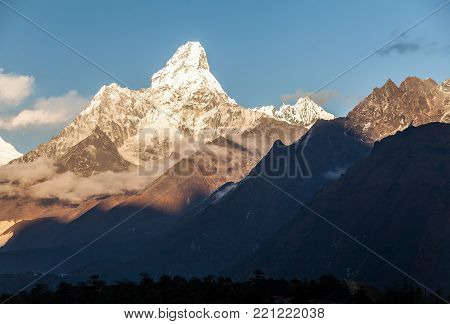 Mt. Ama Dablam in the Everest Region of the Himalayas. Nepal.