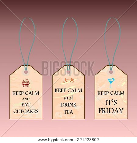 Labels with Keep calm text on vintage background