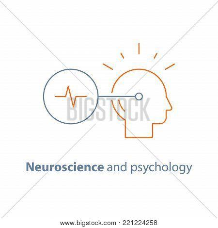 Decision making logo, neurology and psychology, critical mindset, creative thinking, brain training task, vector line icon