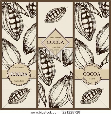 Banner set witn hand drawn cocoa. Vertical banner collection with cocoa products. Vintage vector illustration EPS10