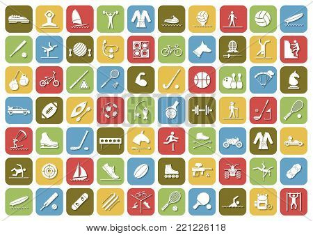 Set of sport icons in flat design with shadows. Vector illustration EPS10