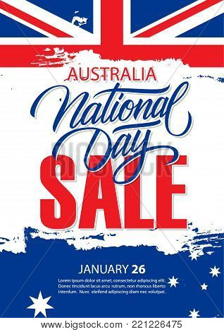 Australia National Day, january 26, Sale special offer poster with Australian National Flag brush stroke and hand lettering for business, promotion and advertising. Vector illustration.