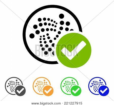 Accept Iota icon. Vector illustration style is a flat iconic accept iota symbol with gray, yellow, green, blue color variants. Designed for web and software interfaces.