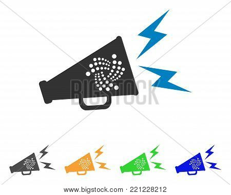 Iota Alert Megaphone icon. Vector illustration style is a flat iconic iota alert megaphone symbol with gray, yellow, green, blue color variants. Designed for web and software interfaces.