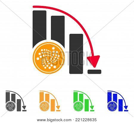 Iota Coin Crisis Chart icon. Vector illustration style is a flat iconic iota coin crisis chart symbol with gray, yellow, green, blue color variants. Designed for web and software interfaces.