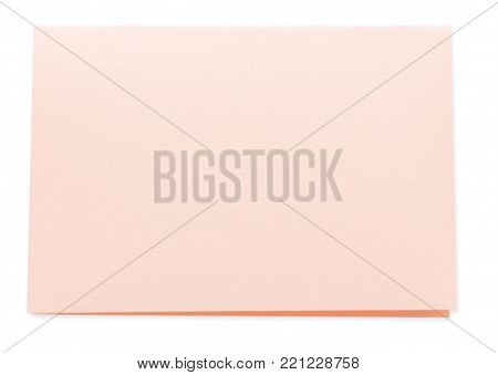 Valentine day letter. Craft paper card isolated on white background. Postal card, lover's holiday confession or proposal concept