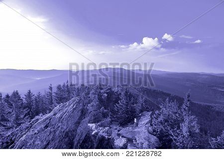 Summer landscape with dramatic sky in National park Bayerische Wald,  view from the mountain Grosser Arber, Germany.