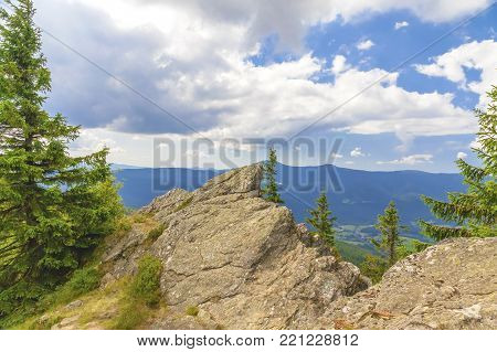 Summer landscape in National park Bayerische Wald, view from the mountain Grosser Osser in National park Bavarian forest, Germany.
