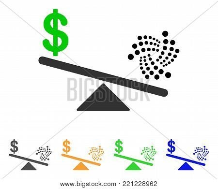 Iota Dollar Balance Scale icon. Vector illustration style is a flat iconic iota dollar balance scale symbol with gray, yellow, green, blue color versions. Designed for web and software interfaces.