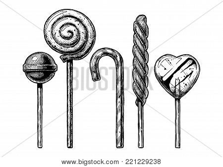 ink drawing set of Lollipop. Different sweets: Candy cane, swirl, heart, spiral type and round lollipops. illustration in vintage engraved style. isolated on white background.