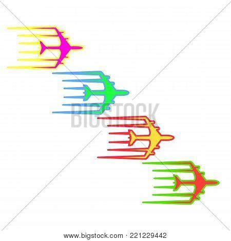 Flying airplane Airliner jet transport icon illustration.